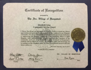 foto Certificate of Recognition The Inc. Village of Hempstead