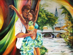 foto Oleo de bailarines-con La Ermita-El Puente Ortiz y el Rio Cali
