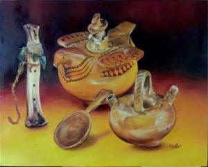 Foto instrumentos y vasijas precolombinas