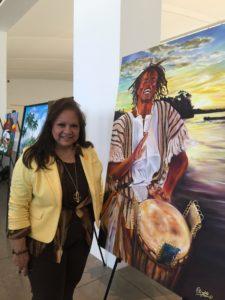 """foto Elizabeth Arias Ojeda con la obra """"Tambores"""""""