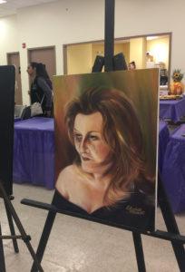 foto Obra en óleo en la Exhibición de Arte para la Prevención de la Violencia Doméstica.