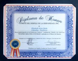 foto del Diploma de Honor