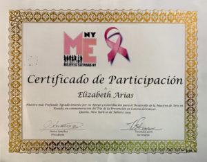 """foto del Certificado de Participación """"Arte en Rosado"""""""