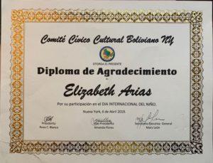 foto Diploma del Comité Cívico Cultura Boliviano