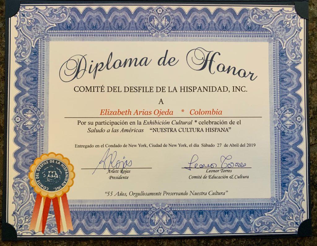 foto Diploma de Honor - Colombia