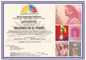 foto Certificado de la Asamblea Nacional de la República del Ecuador, donde incluyeron mi obra en óleo de prevención del cáncer para la invitación al evento MUJERES EN EL PODER