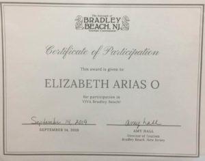 fotoCertificado de Participación Bradley Beach