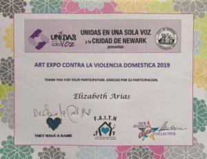 fofo del certificado 10-24-2019 Arte Expo Contra la Violencia Domestica