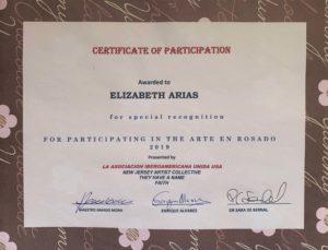 Foto del Certificado 10-27-2019 Certificado de Participación - Arte en Rosado en contra del Cáncer