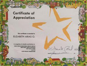 Foto del Certificado de Apreciiación 11-10-2019 Certificado de Apreciación Feria de la Salud