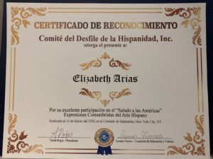 foto Certificado de Reconocimiento, otorgado a Elizabeth Arias 3-14-2020