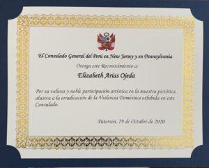 Certificado por exhibición de arte en el Consulado General del Perú en New Jersey