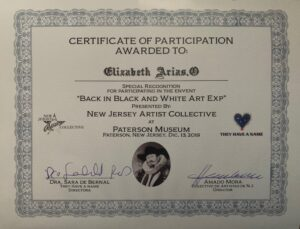Certificate of Participation Back in Black and White Art Exp