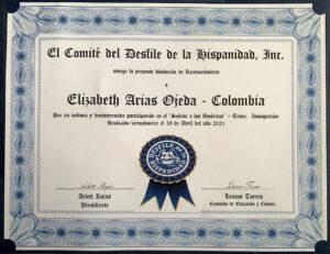 Reconocimiento del Comité del Desfile de la Hispanidad, Inc - Exhibición Saludo a las Américas - Tema Inmigración