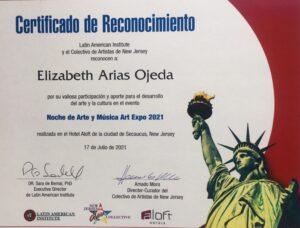 Certificado de Reconocimiento Noche de Arte y música Art Expo 07-17-2021